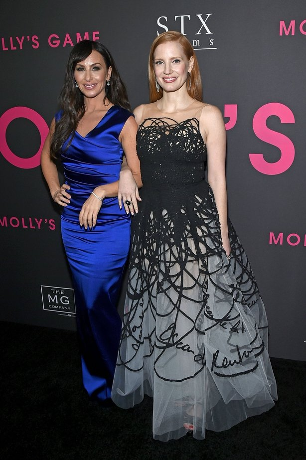 """Poker player Molly Bloom (L) and Actress Jessica Chastain attend """"Molly&squot;s Game"""" New York Premiere"""