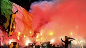 Celtic fans lit flares ahead of the Europa League clash in Rome