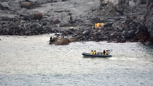 Members of the New Zealand Defence Forces search the island in the recovery operation