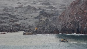 New Zealand navy personnel in search and rescue operations after the 2019 eruption on White Island