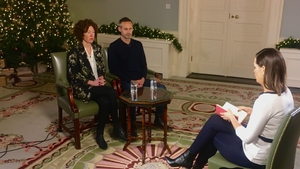Meabh and Sebastien Quoirin talking to RTÉ's Jackie Fox
