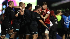 Munster and Saracens players scuffle at Allianz Park
