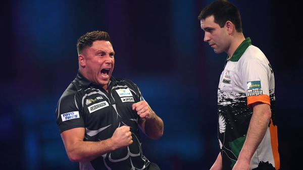 Gerwyn Price celebrates against Limerick's Willie O'Connor