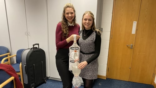 Hannah Grogan and Máire Keehan with their product, the Personal Patient Pack