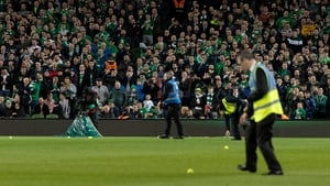 Supporters protest at the Republic of Ireland v Georgia UEFA European Qualification match in March 2019 at the Aviva Stadium in Dublinby throwing tennis balls on the pitch. Photo:Ben Ryan/SOPA Images