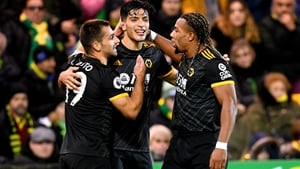 Raul Jimenez receives the congratulations of his team-mates