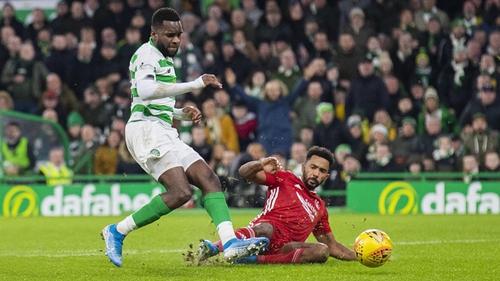 Odsonne Edouard makes it 2-1 to Celtic despite the best efforts of Shay Logan