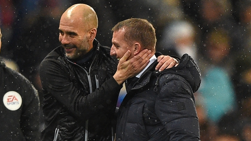 Pep Guardiola and Brendan Rodgers after Man City's 3-1 win over Leicester City