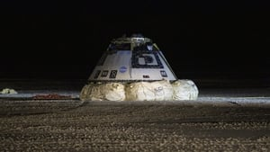 Three large parachutes helped the spacecraft to return safely to earth, landing in the New Mexico desert
