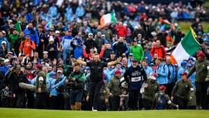 Shane Lowry laps up the adulation of the crowd at Portrush