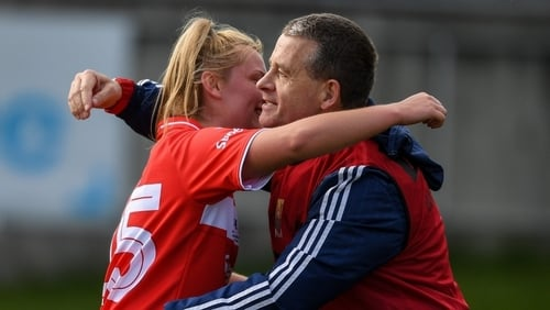 Saoirse Noonan (l) is congratulated by Ephie Fitzgerald