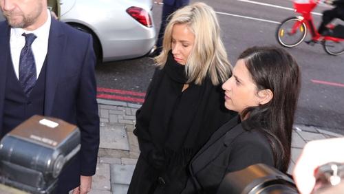 Caroline Flack (centre) at Highbury Corner Magistrates' Court today