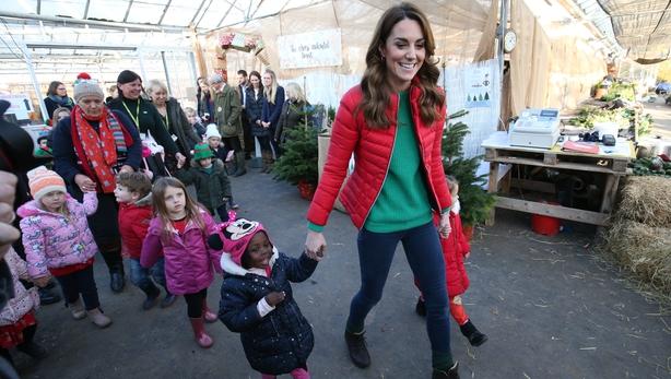 The Duchess of Cambridge takes children to pick a Christmas tree (Jonathan Brady/PA)