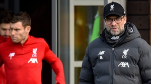Klopp and James Milner (L) at training on Christmas Eve