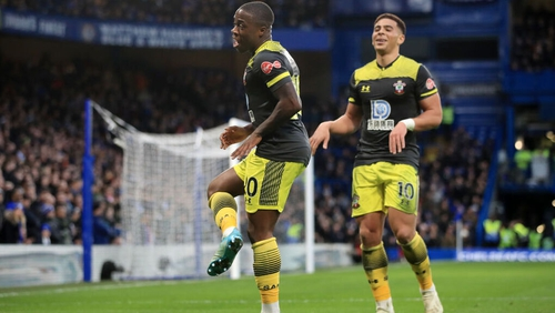 Michael Obafemi celebrates his first-half goal at Stamford Bridge