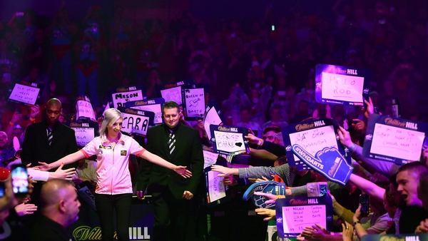 Fallon Sherrock greeting the fans as she made headlines at the Ally Pally last December