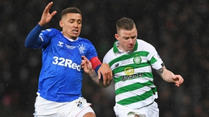 Rangers' James Tavernier (L) battles with Jonny Hayes during the Betfred Cup Final