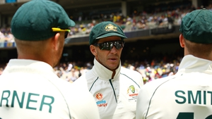 Despite Australia's 319-run lead, captain Tim Paine (centre) decided not to make New Zealand bat again and instead opted to return to the crease in an effort to give his men as much breathing room as possible