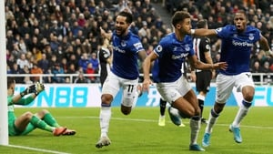 Dominic Calvert-Lewin celebrates his second goal of the day