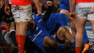 Leinster's James Lowe celebrates Ed Byrne's try