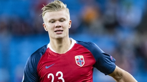 Erling Braut Haaland in action for Norway