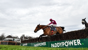 Battleoverdoyen clears the last to win the Neville Hotels Novice Chase at Leopardstown