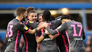 Leeds players celebrate Jack Harrison scoring his side's second goal
