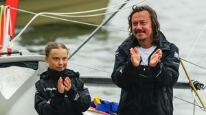 Greta's father Svante has accompanied her on her trips across the ocean