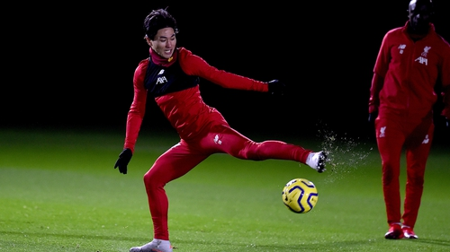 Takumi Minamino during his first Liverpool training session