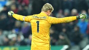 Kasper Schmeichel celebrates Leicester's win over Newcastle United