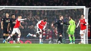 Nicolas Pepe celebrates his early goal against Manchester United at the Emirates Stadium