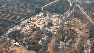 Aerial view of a property damaged by the East Gippsland fires in Sarsfield, Victoria