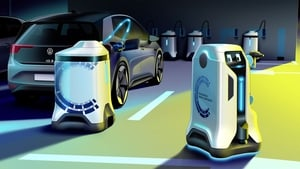 The charging robot is compact and can be summoned by app or other communications methods.