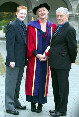 Marian Finucane with her son Jack Clarke and husband John Clarke during DIT Honorary Degrees at The Royal Hospital, Kilmainham in November 2002 (Photo: RollingNews.ie)