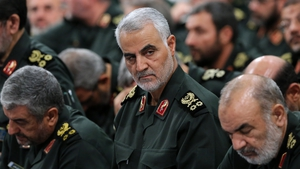 A US drone strike in Iraq killed General Soleimani (C), who was the leader of the Revolutionary Guards' Quds Force