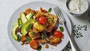 Indian spiced potatoes and raita on toast