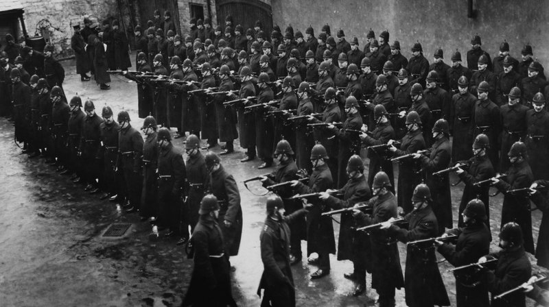 Royal         Irish Constabulary members under inspection during a by-election         in Derry (Pic: Hulton Archive/Getty Images)