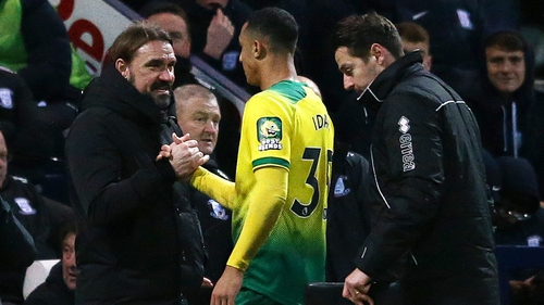 Adam Idah is congratulated by his manager following his hat-trick display for Norwich