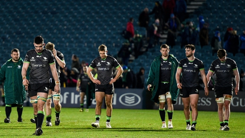 A dejected Connacht side trundle off the field at the RDS