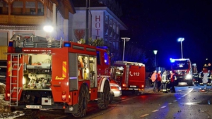 Emergency personnel at the scene in northern Italy