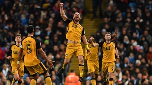 Tom Pope celebrates his goal