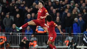 Curtis Jones celebrates his stunning effort which sealed the Merseyside derby