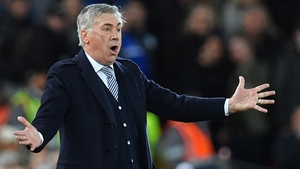 Carlo Ancelotti during Everton's defeat to Liverpool