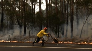 A firefighter works to contain a bushfire, which closed the Princes Highway, near Ulladulla, Australia