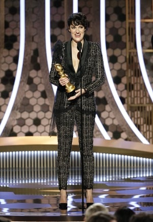 """Phoebe Waller-Bridge wins Best Performance by an Actress in a Television Series - Musical or Comedy for Fleabag. """"This really comes down to Andrew Scott. There was a lot of talk about the chemistry in the show but he could have chemistry with a pebble"""""""