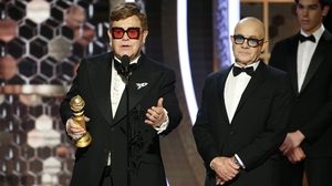 Elton John and his lyric-writer Bernie Taupin at the Golden Globes in January