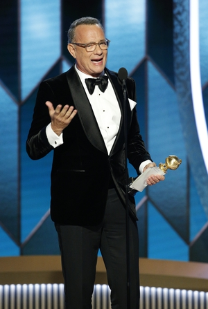 """Tom Hanks accepted the Cecil B. DeMille award - the ceremony's lifetime achievement award. He said: He added: """"You're a dope if you don't steal from everybody you've ever worked with, I've stolen from the people who only need one name, like Meryl."""""""