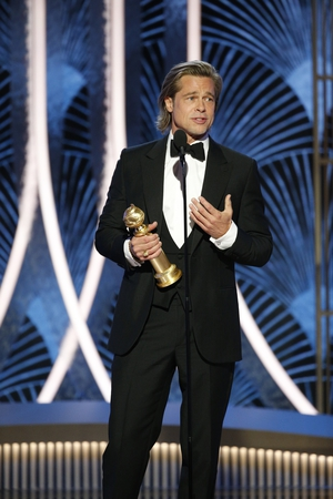 """Brad Pitt won Best Supporting Actor for Once Upon A Time... In Hollywood. He paid tribute to his fellow nominees, saying: """"Holy moly, when I was starting out these names that were just listed were like gods to me, so all my respect."""""""
