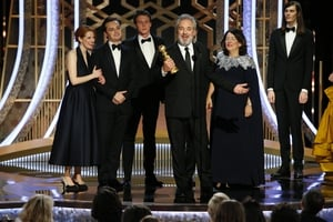 """1917 won Best Picture - Drama. Director Mendes collected the gong and said: """"This is a huge huge thing for this movie, its difficult to make movies without big movie stars in the lead and get people to come and see it in a movie theatre."""""""