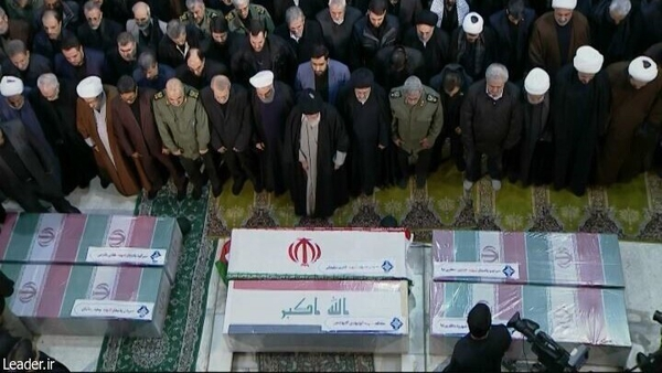 Iranian Supreme Leader Ayatollah Ali Khamenei and Iranian President Hassan Rouhani attend the funeral ceremony of Qasem Soleimani. Photo: Iranian Leader Press Office/Handout